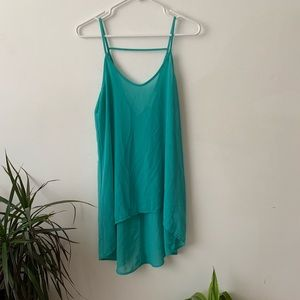 Lush green strappy shirt with tail